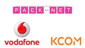 PackNet, Vodafone and Eclipse logos
